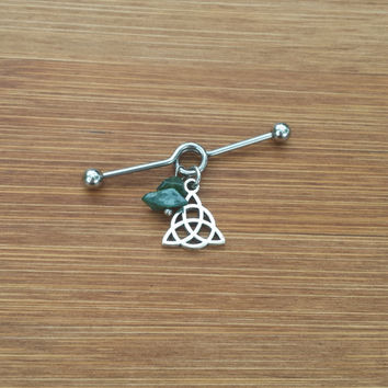 Trinity Knot Celtic - Indian Agate Nuggets - Industrial Barbell Scaffold Piercing 14G
