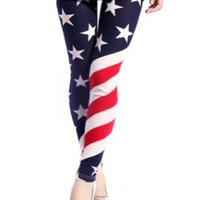 Simplicity Women's Uncle Sam American United State Flag Print Leggings