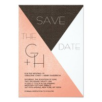 Modern Blush Pink Leather Save the Date Invitation