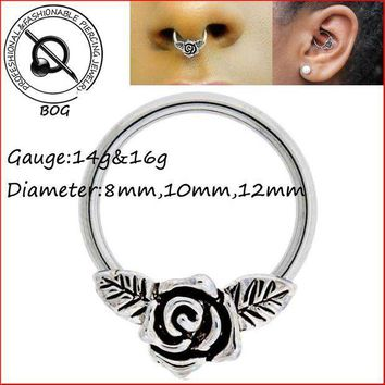 ac PEAPO2Q BOG-1 Piece Rose Flower Captive Bead Ring For Septum Ear Cartilage Nippple Helix Piercing Jewelry 14g 16g