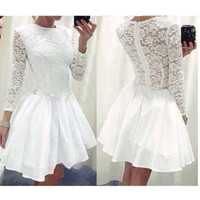 Lace O-neck Long Sleeve Short Dress