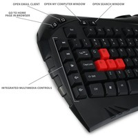 PrecisionGLO LED Backlit Gaming Keyboard with 10 Hotkeys for League of Legends , DOTA 2 , Battlefield 4 , Watch Dogs , Titanfall and More! * Includes Accessory Bag and 2 Cleaning Cloths *