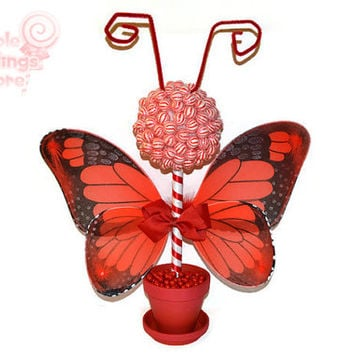 Red Butterfly Lollipop Topiary, Red, Lollipop, Candy, Centerpiece, Baby Shower, Butterfly,Candy Buffet, Butterfly Centerpiece, Birthday