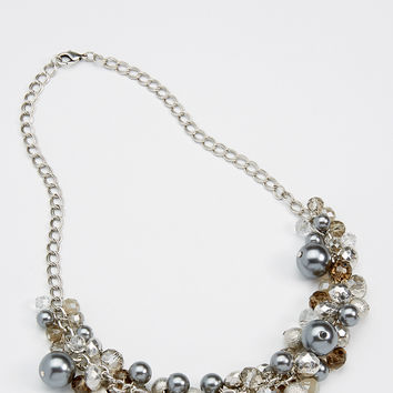statement necklace with beads and gray faux pearls