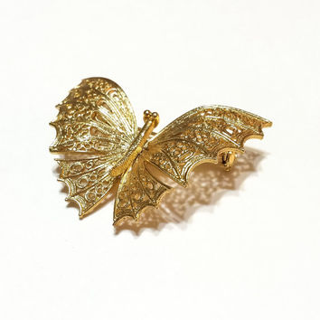 10K Gold Plated Filigree Butterfly Brooch, Victorian Style, Brilliant Gold, 1980s