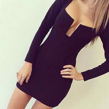 Black Square Neck Long Sleeve Mini Dress