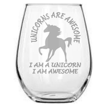 Unicorns are Awesome 17oz Stemless Wine Glass - Perfect Gift for any Unicorn Lover