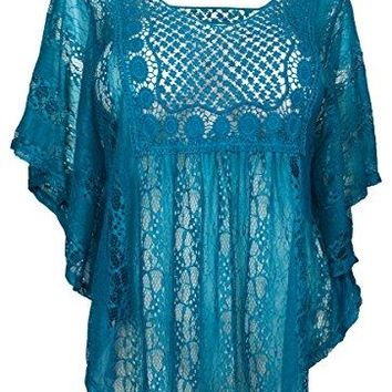 eVogues Plus Size Sheer Crochet Lace Poncho Top Teal - 3X