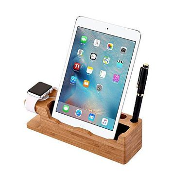 Apple Watch Stand iValux iWatch Bamboo Wood Charging Dock Charge Station Stock Cradle Holder for Apple Watch iPad Mini 1234 amp iPhone 8 8 Plus 7 7 Plus 6 6 plus 5S 5 Bamboo Wood Size 2