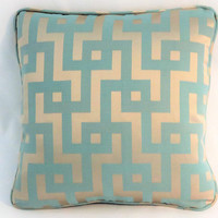 """Aqua and Gold Maze Pillow, 18"""" Square, Turquoise Blue with Satin Puzzle Greek Key, Welted, Ready to Ship, Cover Only or Insert Included"""
