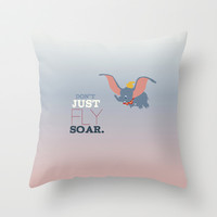 don't just fly, soar, dumbo Throw Pillow by Studiomarshallarts