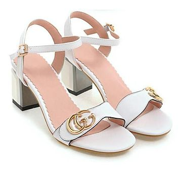 GUCCI Trending Women Stylish Double G Metal Logo Sandals High Heels Shoes White I13477-1