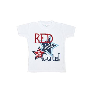 Custom Party Shop Girls' Red White and Cute 4th of July T-shirt