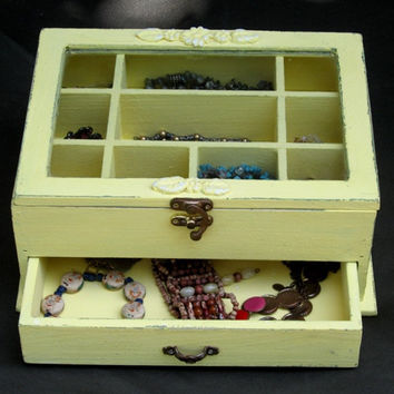 Yellow Shabby Chic Wooden Jewelry Box