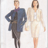 Pattern for boxy, unlined jacket in 2 lengths with knee length pencil skirt misses sizes 8 10 12 14 16 18  20 Simplicity  7388 UNCUT