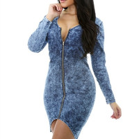 DENIM FRONT ZIPPER  DRESS