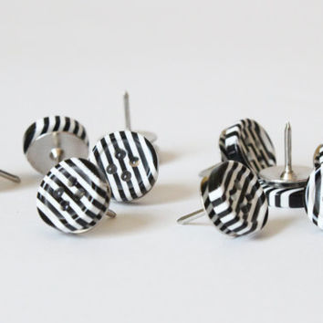 Black and White Stripe Thumb Tacks Push Pins Thumbtacks Bulletin Board Black and White Office Supplies Dorm Room Decor Stripes / Set of 20