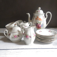 Bohemia Tea Set in Excellent Condition/ Antique Tea Set made in Czecholslovakia/ Hand Painted China Tea Set/ Vintage Coffee Set