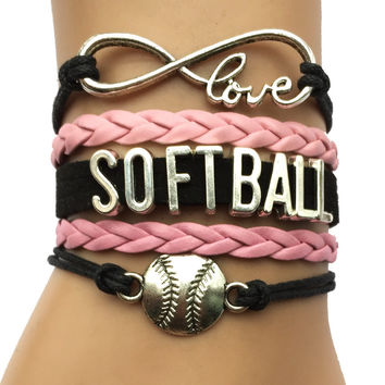 Infinity Love Softball Bracelet Black with Pink Wrapped Charm Jewelry