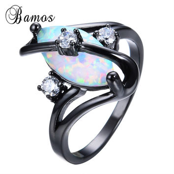 Bamos Gorgeous Rainbow Fire Opal Rings For Women Men Black Gold Filled Wedding Party Engagement Promise Ring Anillos RB1116