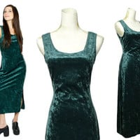 Crushed Velvet Dress / 90s Soft Grunge Emerald Green Long Dress / Goth Slit Maxi Dress / 1990s Hipster Clothing Tank Dress / size XS S M