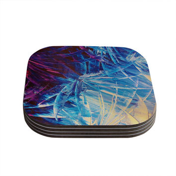 "Ebi Emporium ""Night Flowers"" Blue White Coasters (Set of 4)"