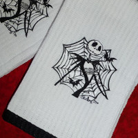 JACK SKELLINGTON Embroidered TOWELS NiGHTMaRe BeFoRE CHRiSTMaS Boutique UNIQuE for KiTCHeN BaTH GuESTS EleGant & FuN Designs by Sugarbear