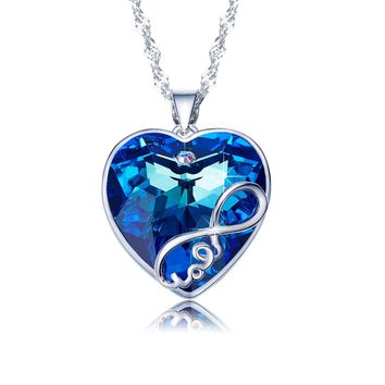 Heart Ocean Necklace Love Heart Pendant Necklaces for Women Made with Swarovski Crystals (Infinite Love)