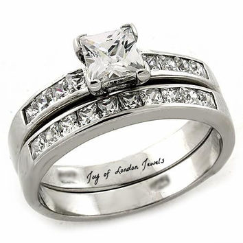 A Perfect 1.2CT Princess Cut Russian Lab Diamond Channel Set Wedding Ring Bridal Set