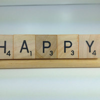 Inspirational, Motivational HAPPY Upcycled/Recycled Game Piece Magnet, Wood Letter Tile Magnet, Refrigerator, School Locker, Office Magnet
