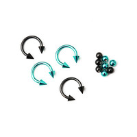 "Teal Black 3/8"" Steel Circular Barbell 4 Pack"