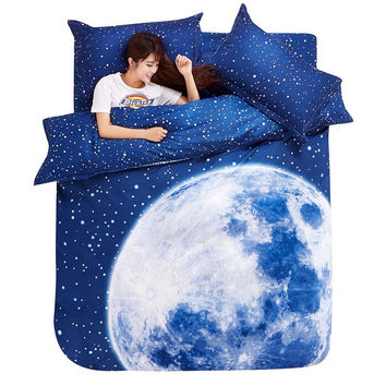Thick 3D bedding set King size beddings and bed sets duvet cover set with bed sheet bedclothes Moon Star Galaxy space nasa