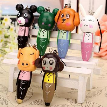 1pcs Cute Cartoon Animal Wood Ballpoint Pen Ball Point Pen for Kid Gift Mobile Phone Pendant Pen School Supplies Free Shipping