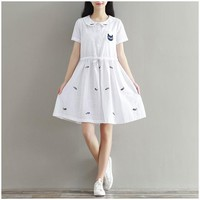 White Animal Embroidery Cat Peter Pan Collar Sweet Linen Cotton Mini Dress
