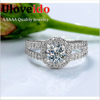 Almei Trendy 9mm Platinum Plated Engagement Wedding Bands Women