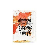 Always Take The Scenic Rout World Map Customized Cute Leather Passport Holder - Passport Covers - Passport Wallet_SUPERTRAMPshop
