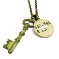 Creamy White Aged Skeleton Key Brass Dewey Decimal Librarian Necklace