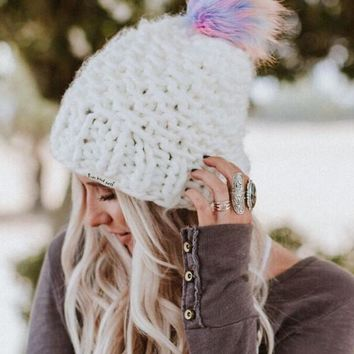 Magic Pom Beanie - Rainbow