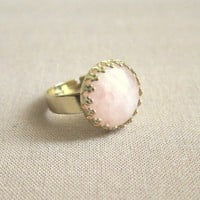 Rose Quartz Ring Gold Pink Gem Stone Ring Gold Gemstone Precious Stone Jewelry Simple Classic  Light Pink Soft Dreamy Bright Pale Blush Pink