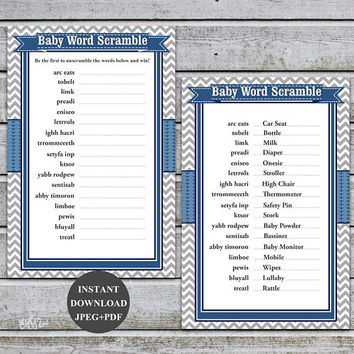 Baby Word Scramble Boy Baby Shower Games Baby Scramble Games Baby Scrambled Word Game Scramble Game Printable Instant Download (57b)