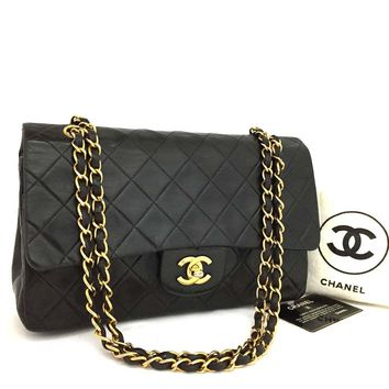 CHANEL Double Flap 25 Quilted CC Logo Lambskin w/Chain Shoulder Bag Black/o222