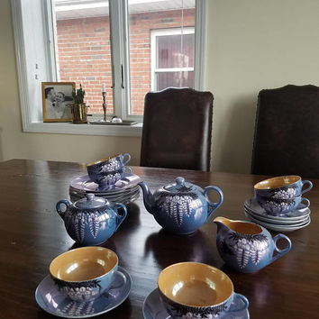Japanese Tea Set/ Lustreware/ Lusterware Tea Set/ 1940s Japan/ Egg Shell China/ Iridescent Blue China/ Tea Party Decor/ Tea Service