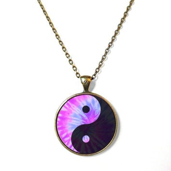 Pastel Tie Dye Yin Yang Necklace - Vintage Inspired Pop Culture Jewelry - Soft Grunge Pastel Goth Jewelry