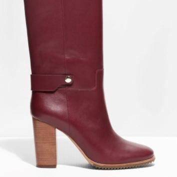 & Other Stories | Block Heel Leather Boots | Red