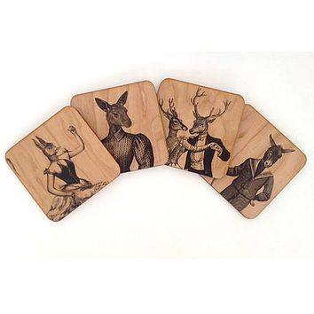 Wood Coasters Animal Menagerie