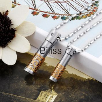 "SHIPS FROM USA 2017 New Fashion Stainless Steel ""Only Love"" Messenger Cylinder with Gold/Black/Blue Lattice Pendant Necklaces Set for Couple"