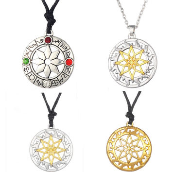 Slavic Pendant Alatyr shield in the solar circle stones and crystals Alatir protection amulets rope chain sun lace necklace