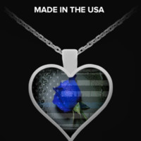 Thin Blue Line Rose Heart Necklace
