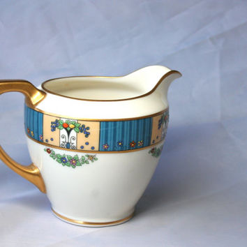 Vintage Lenox The Tremont Creamer, Blue Gold Lenox Creamer,  Discontinue Lenox China, Blue Art Deco China, Art Deco Creamer