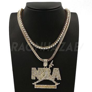 "NEVER BROKE AGAIN NBA Pendant W/ 18"" Franco Chain / Tennis Choker"